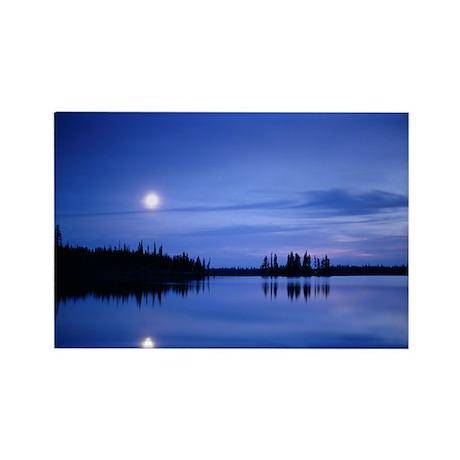 Moon over a lake - Rectangle Magnet (100 pk)