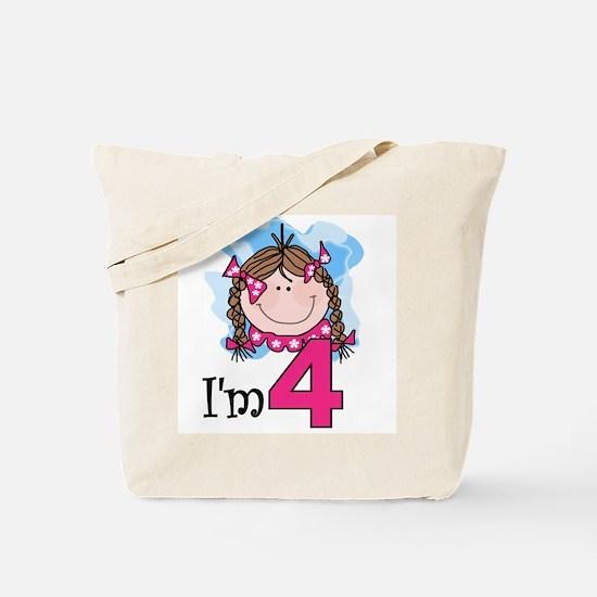 I'm 4 Brunette Girl Tote Bag