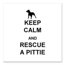 "Rescue a Pittie Square Car Magnet 3"" x 3"""