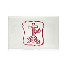 Pretty red christian cross 4 L h Rectangle Magnet