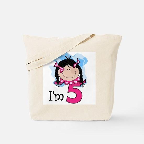 I'm 5 Black Haired Girl Tote Bag