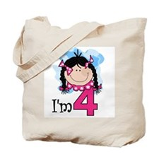 I'm 4 Black Haired Girl Tote Bag