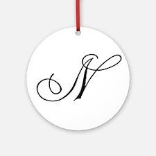 Champagne Monogram N Ornament (Round)