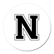 Collegiate Monogram N Round Car Magnet