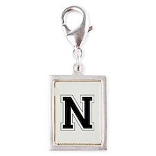 Collegiate Monogram N Silver Portrait Charm