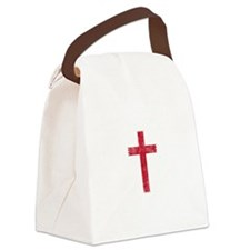 Pretty red christian cross 4 U L Canvas Lunch Bag