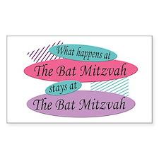 Happens At The Bat Mitzvah Rectangle Decal
