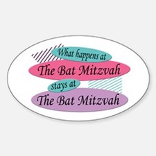Happens At The Bat Mitzvah Oval Decal