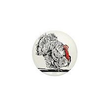 Turkey, woodcut - Mini Button