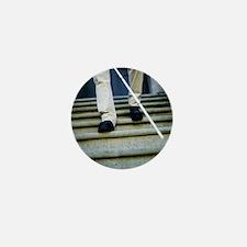 Blind man descending stairs - Mini Button
