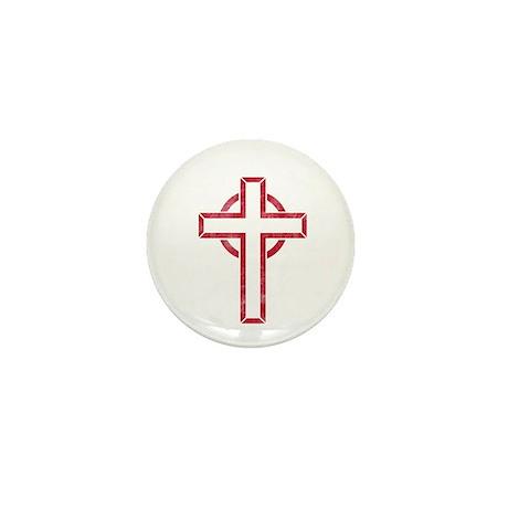 Pretty red christian cross 5 L b Mini Button