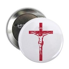 "Pretty red christian cross 5 L y 2.25"" Button"
