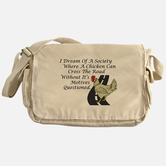 Chicken Crossing The Road Messenger Bag