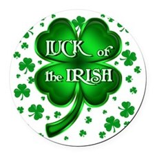 Luck of the Irish with shamrocks Round Car Magnet