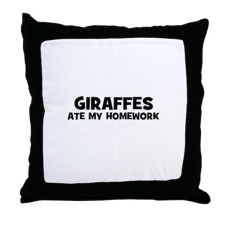 Giraffes Ate My Homework Throw Pillow