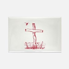 Pretty red christian cross 5 U K Rectangle Magnet