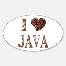I (heart) JAVA Oval Decal