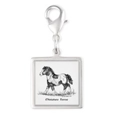 Miniature Horse Foal Silver Square Charm