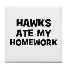 Hawks Ate My Homework Tile Coaster