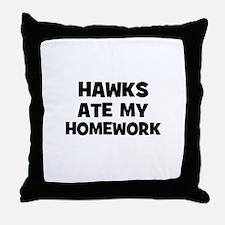 Hawks Ate My Homework Throw Pillow