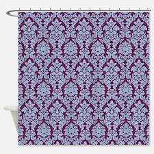 Cerulean & Alyssum Damask Shower Curtain