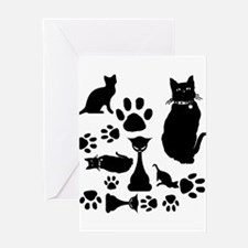 Black Cat Collage Greeting Card
