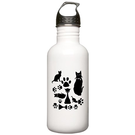 Black Cat Collage Water Bottle