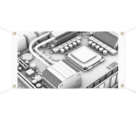Computer motherboard, artwork - Banner