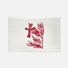 Pretty red christian cross 5 U M Rectangle Magnet