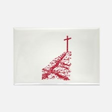 Pretty red christian cross 5 U N Rectangle Magnet