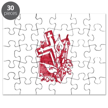 Pretty red christian cross 5 U P Puzzle