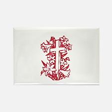 Pretty red christian cross 5 U R Rectangle Magnet