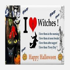 Halloween Witch Love Tile Coaster