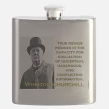 True Genius Resides - Churchill Flask