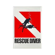 Rescue Diver (blk) Rectangle Magnet