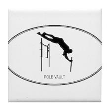 Cute Pole vault silhouette Tile Coaster