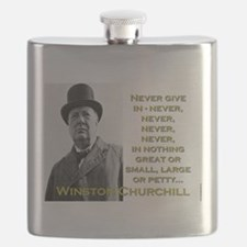 Never Give In - Churchill Flask