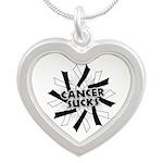 Carcinoid Cancer Sucks Silver Heart Necklace