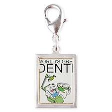 Worlds Greatest Dentist Silver Portrait Charm