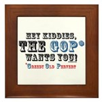 GOP=Greedy Old Pervert  Framed Tile