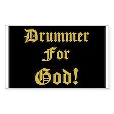 Christian Drummer God Rectangle Stickers