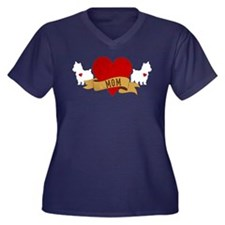 Yorkie Mom Women's Plus Size V-Neck Dark T-Shirt