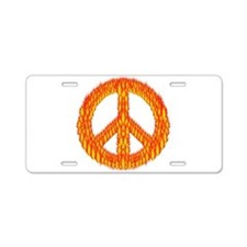 Flaming Peace Sign Aluminum License Plate