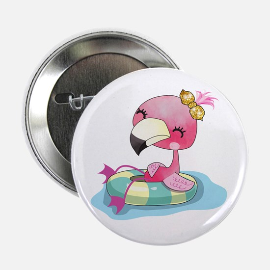 "Flamingo Swimming 2.25"" Button"