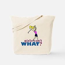 Girl Playing Golf Tote Bag