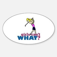 Girl Playing Golf Decal