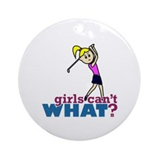 Girl Playing Golf Ornament (Round)