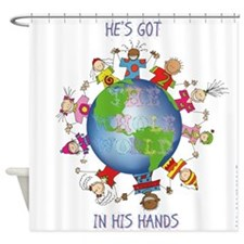 Hes Got the Whole World in His Hands Shower Curtai