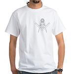 Masonic Sun in S&C outline White T-Shirt