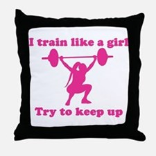 Train Like a Girl Throw Pillow